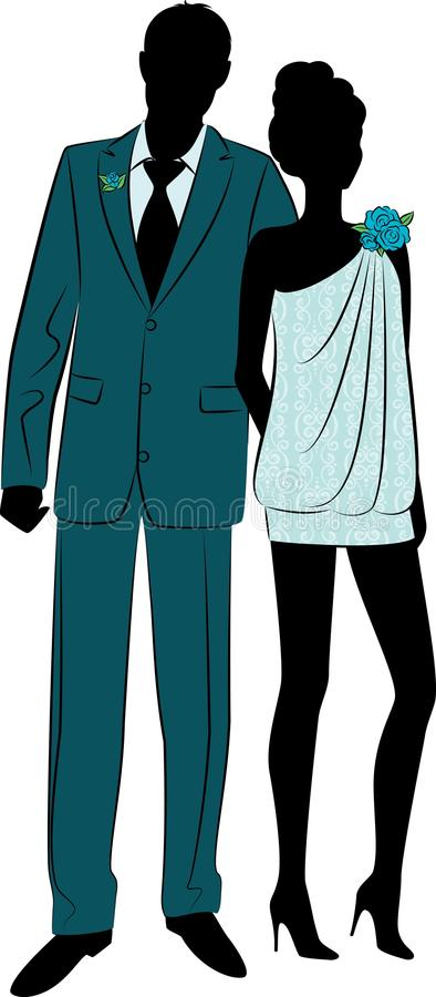 Beautiful bride and groom stock illustration