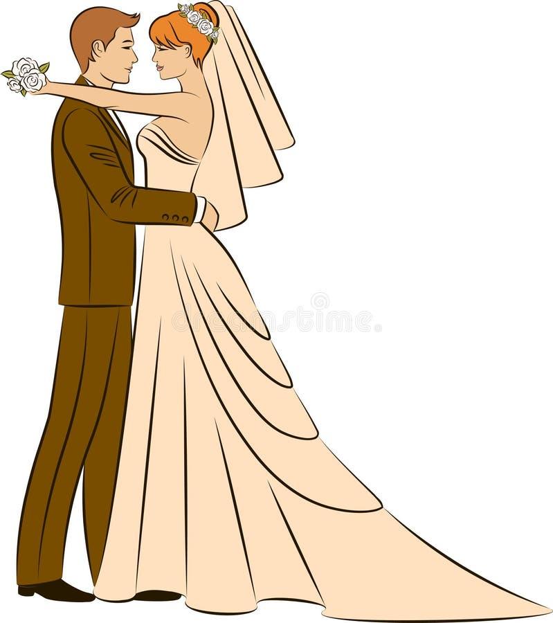 beautiful bride and groom vector illustration