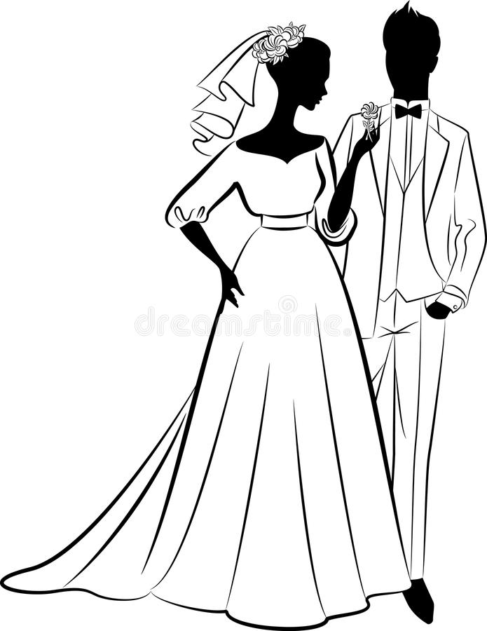 Download Beautiful bride and groom stock vector. Image of girl - 21341286