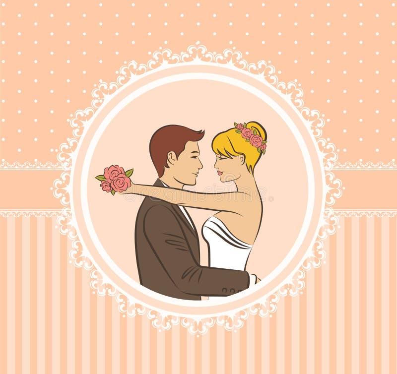 beautiful bride and groom. vector illustration