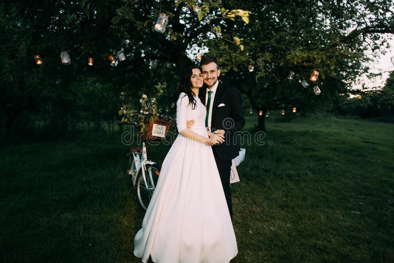 Beautiful bride and groom in evening park holding each other under romantic tree decorated with many lanterns stock photos