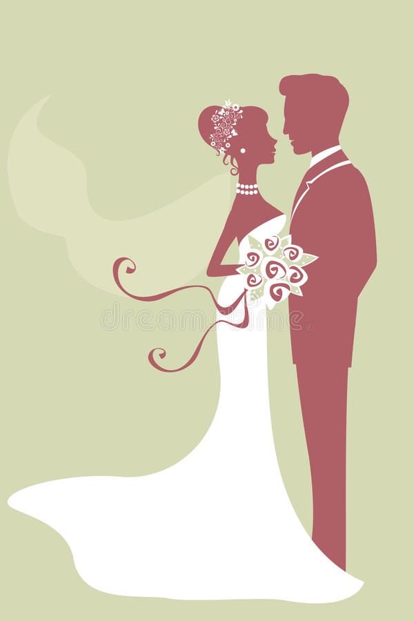 Beautiful bride and groom just married vector illustration