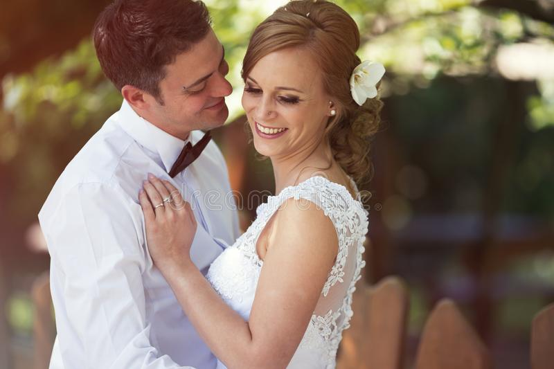 Beautiful bride and groom kissing outdoors royalty free stock photos