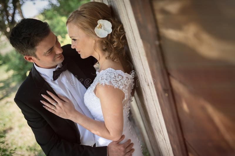 Beautiful bride and groom pre wedding royalty free stock photography