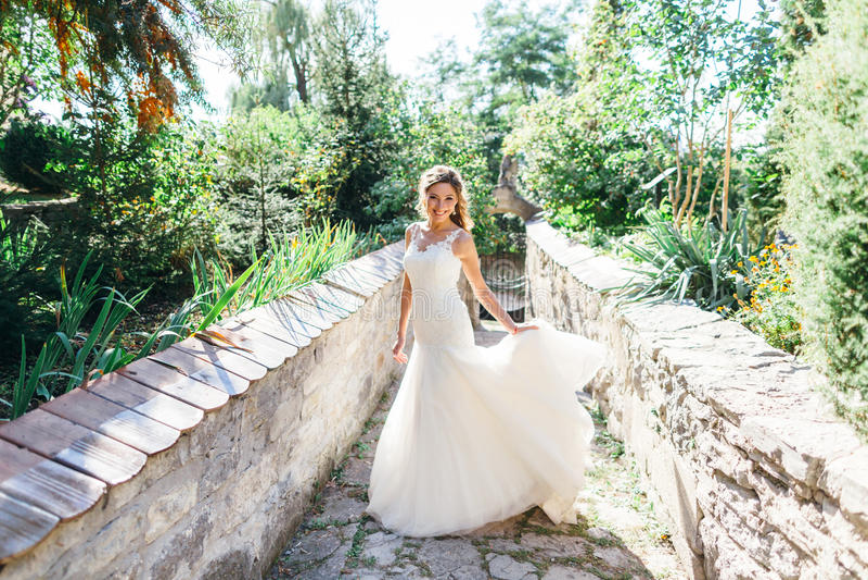Download Beautiful Bride Having Fun In Nature Stock Photo - Image: 83721552