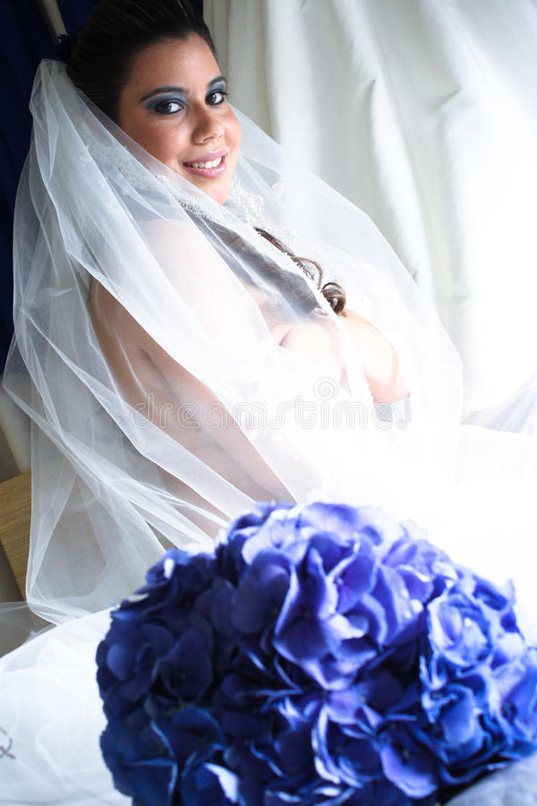 Beautiful Bride on Her Wedding Day. stock photography