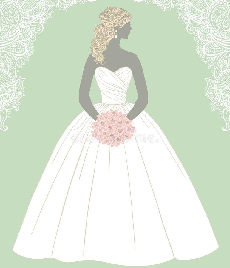 Beautiful bride holding a rose bouquet, vector illustration vector illustration