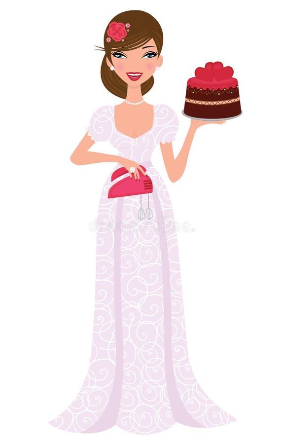 Beautiful bride holding wedding cake royalty free illustration
