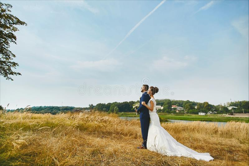 Beautiful bride hugging groom tenderly in a wheat field somewhere in the countryside. Loving couple gets married in the royalty free stock photo