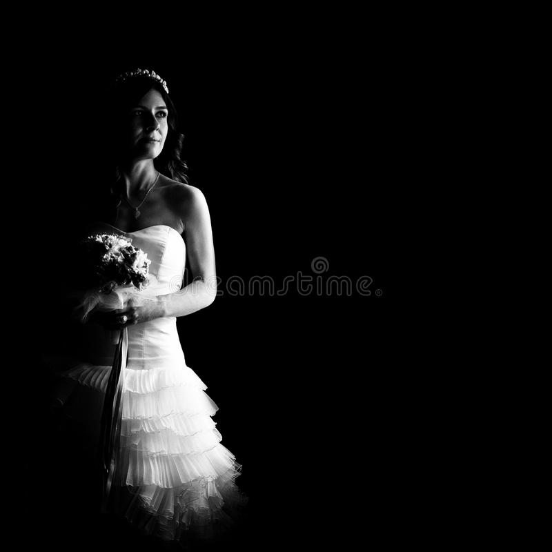 Beautiful bride indoor. Bride smiling and posing before her wedding. caucaisan young woman stock photo