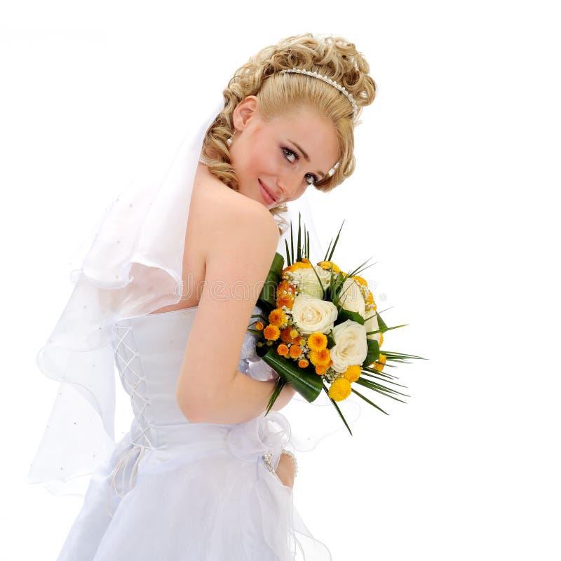 Beautiful bride isolated on white royalty free stock photo