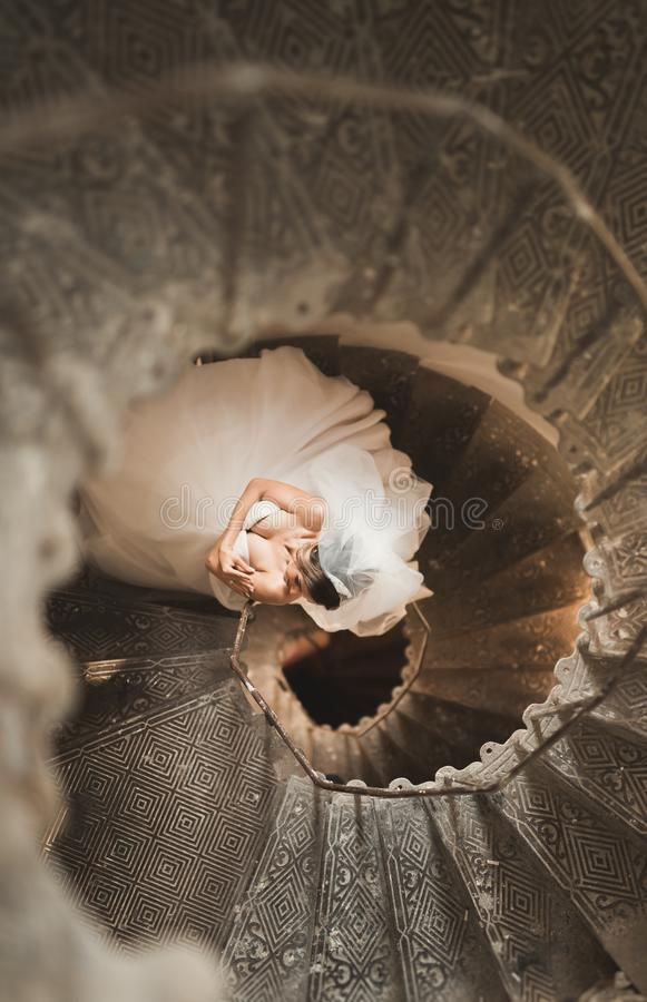 Download Beautiful Bride In Magnificent Dress Stands Alone On Stairs Stock Photo - Image of hair, beauty: 108901754