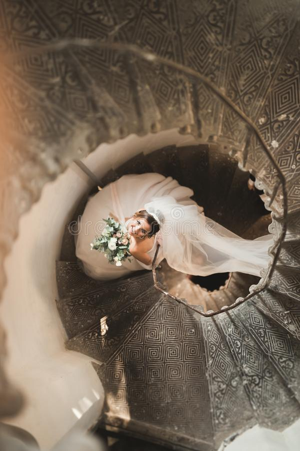 Beautiful bride in magnificent dress stands alone on stairs.  stock photos