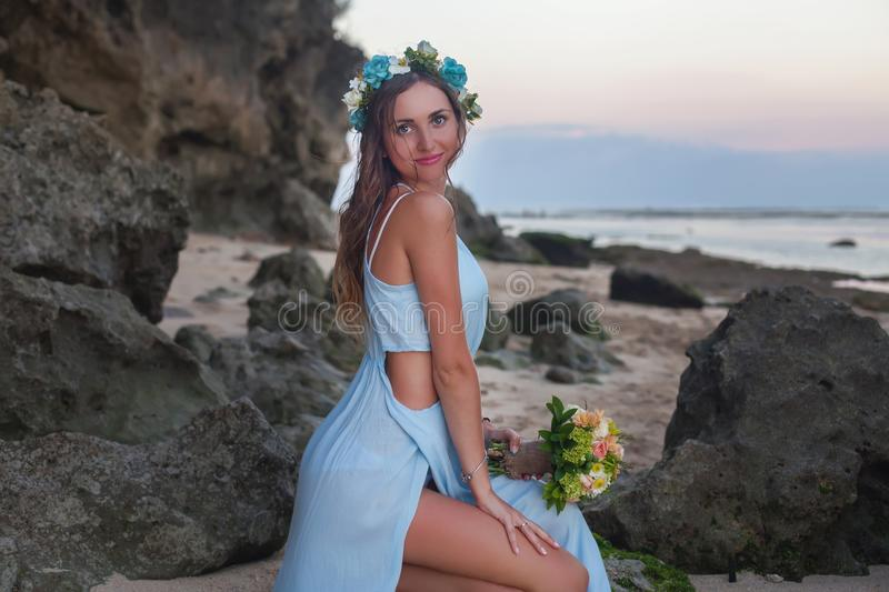 Beautiful bride married at the beach, Bali. Wedding ceremony stock photos