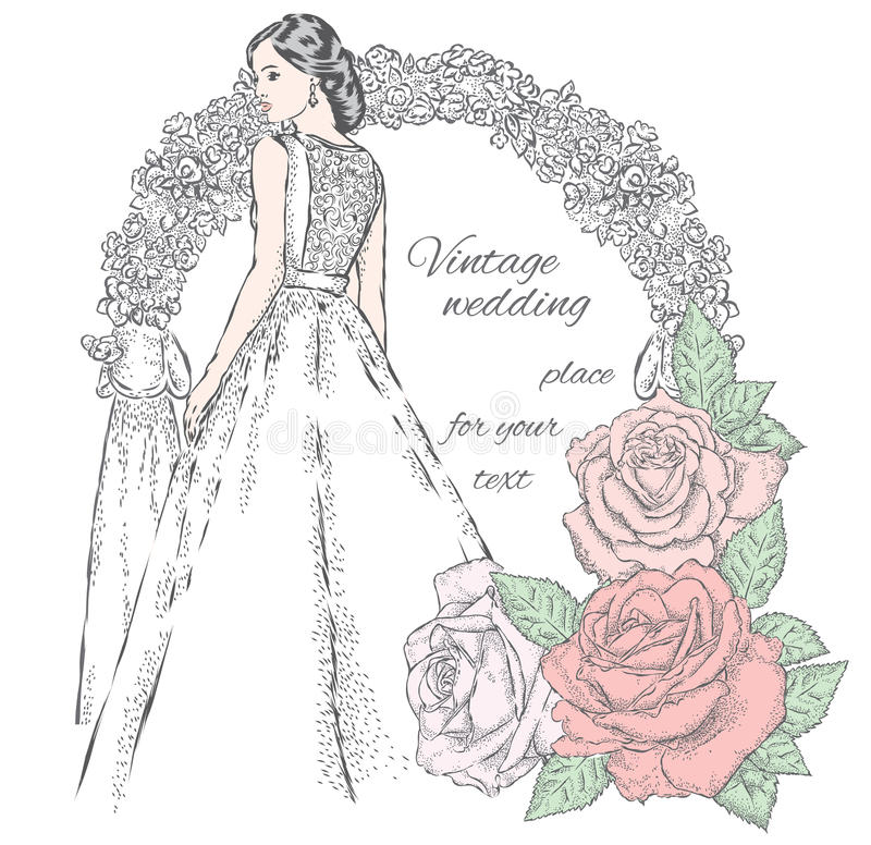 Beautiful bride near the wedding arch and beautiful roses. Vector illustration for a card or poster. vector illustration