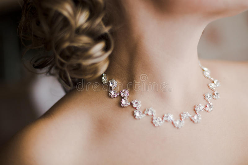 Beautiful bride necklace stock images