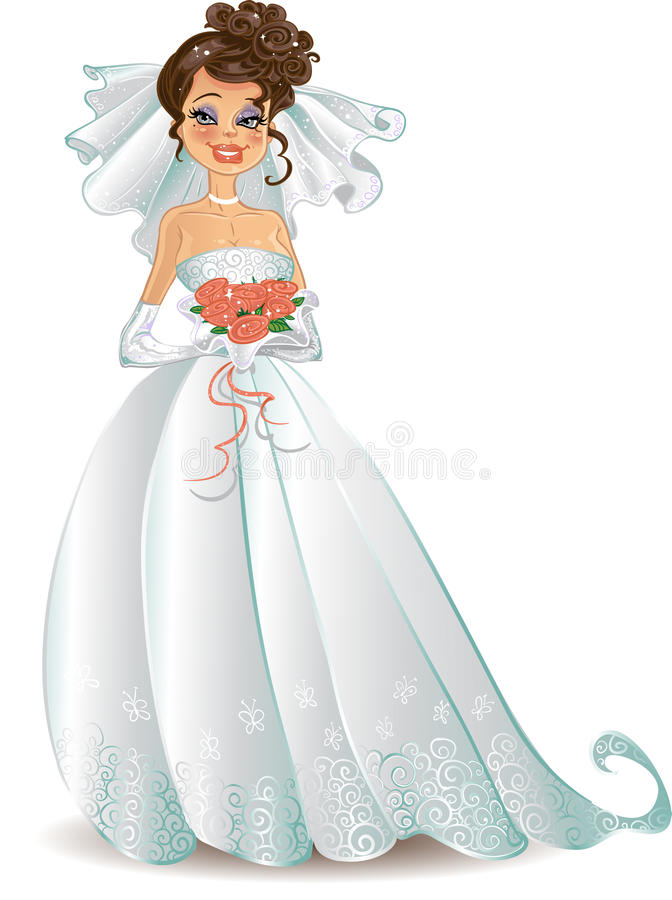 Beautiful bride with pink bouquet royalty free stock photos