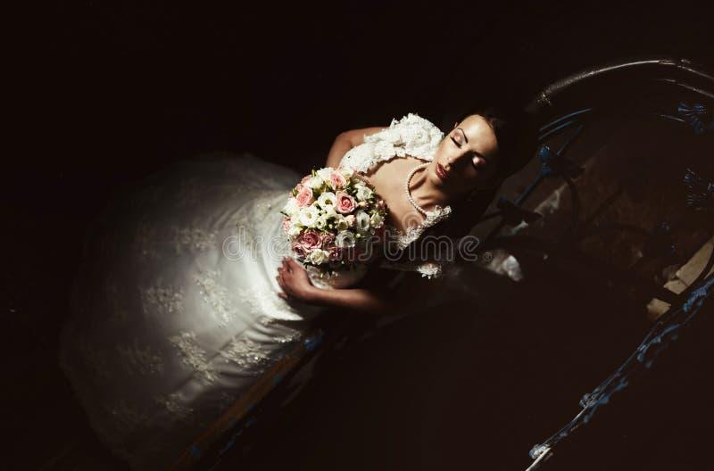 beautiful bride portrait in fashion style stock image