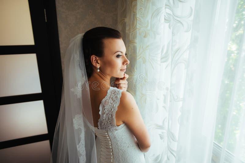 Beautiful Bride portrait in interior stock image