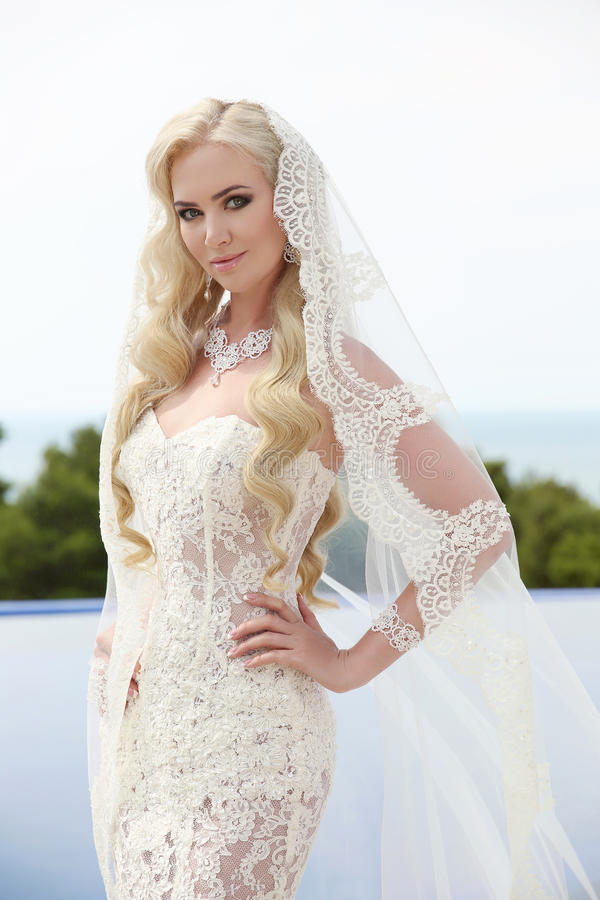 Beautiful Bride Portrait wedding makeup and wavy hairstyle, girl. In white veil, jewelry model, fashion bride gorgeous beauty, smiling happy bride woman stock photos