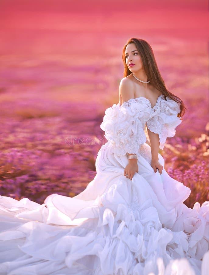 Beautiful bride posing at field of lavender. Beautiful Bride in wedding day in lavender field royalty free stock photo