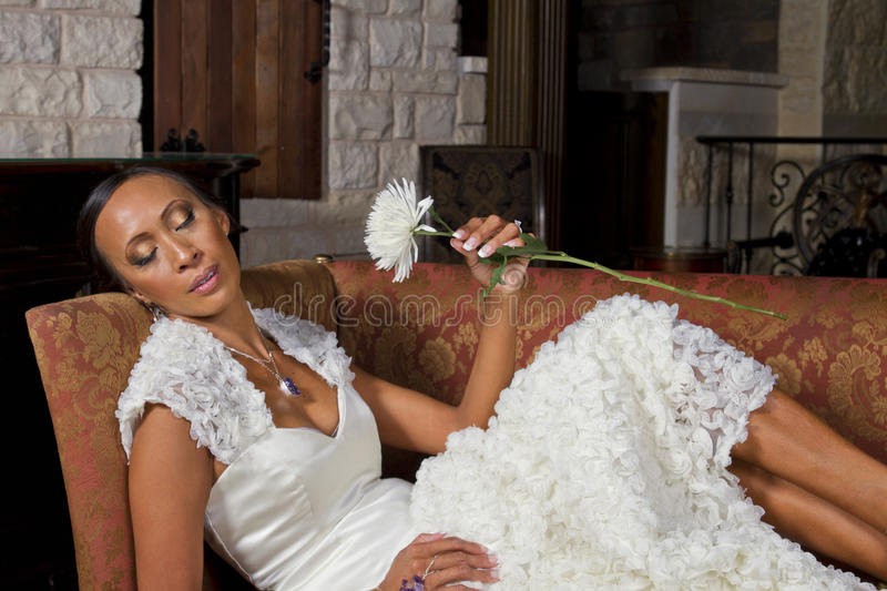 Download Beautiful Bride Reclining In Wedding Gown Stock Image - Image of expression, attractive: 30809217