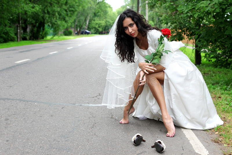 Download Beautiful Bride At The Road Stock Image - Image: 11418307