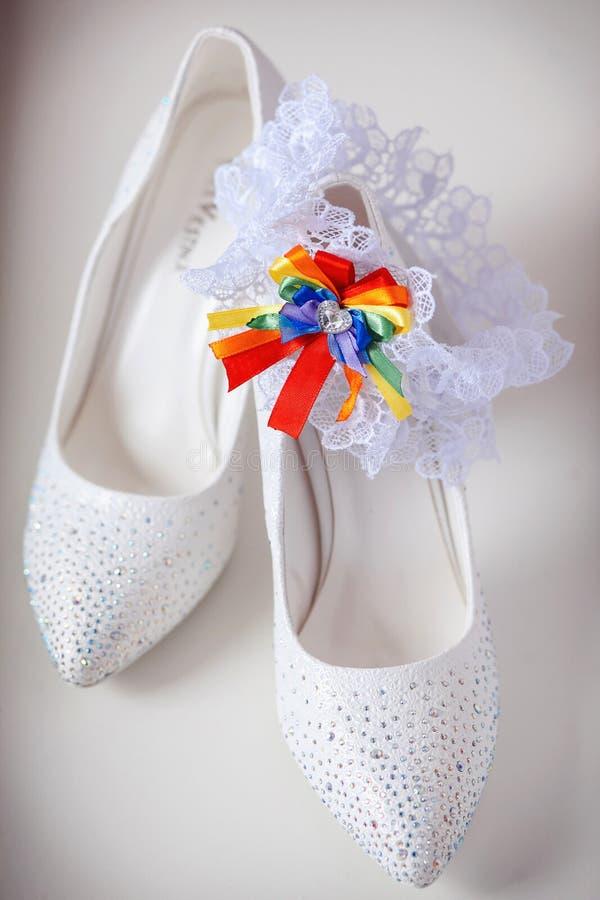 Beautiful bride's shoes. Closeup photo of beautiful bride's shoes royalty free stock photos