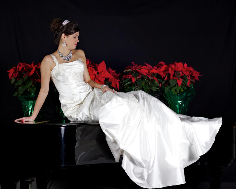 Download Beautiful Bride Sitting On A Piano Stock Image - Image of necklace, marriage: 23662041