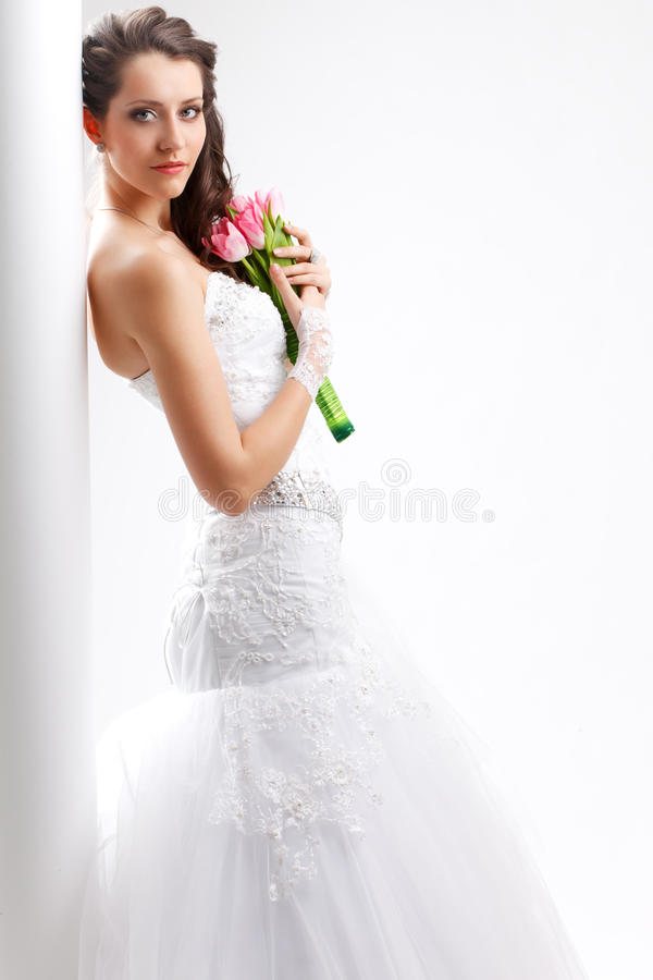 Free Beautiful Bride Standing Near White Column Stock Photography - 30404312