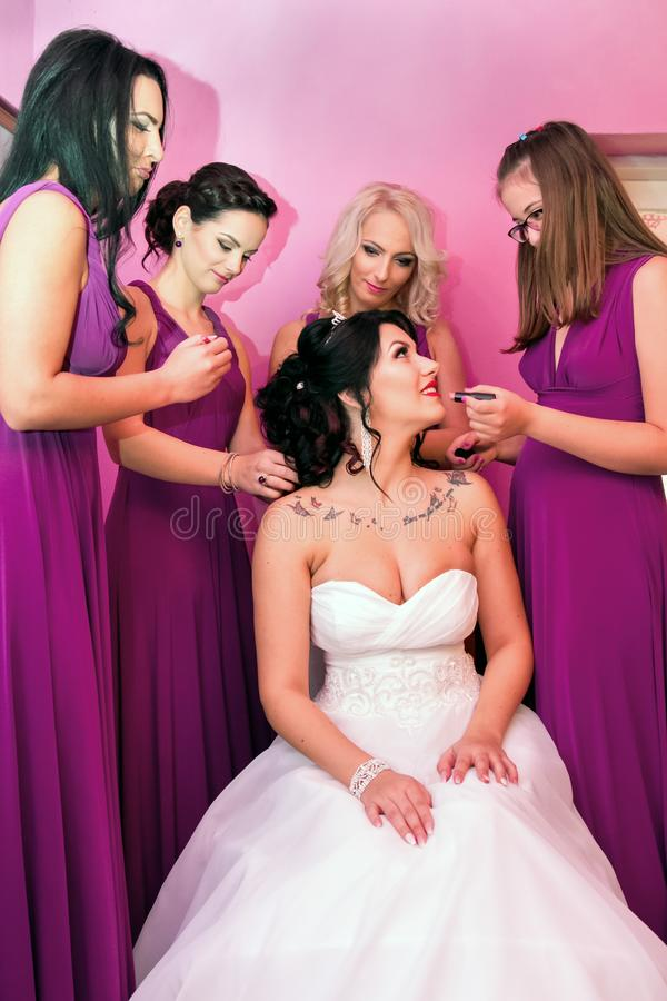 Free Beautiful Bride Together With 4 Bridesmaids In Violet Similar Dresses Royalty Free Stock Image - 113088056