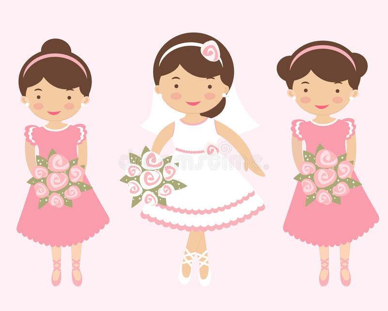 Beautiful bride with two bridesmaids vector illustration