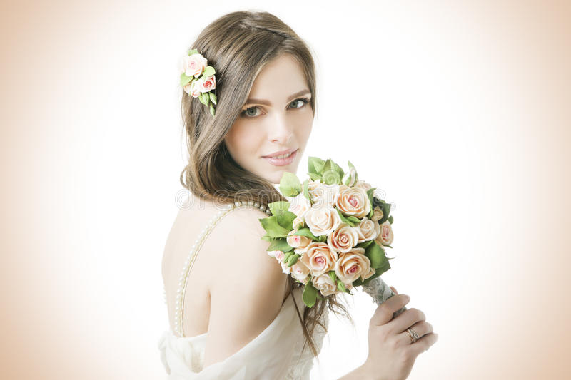 Beautiful bride with wedding bouquet royalty free stock photos