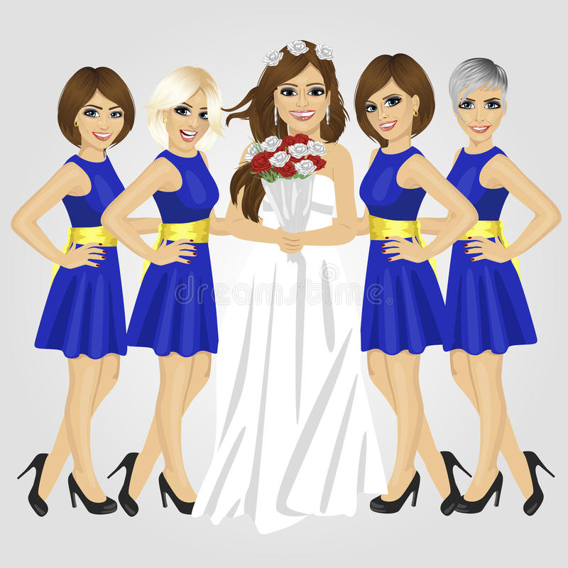 Beautiful bride in wedding dress holding bouquet of roses posing with group of her bridesmaids royalty free illustration