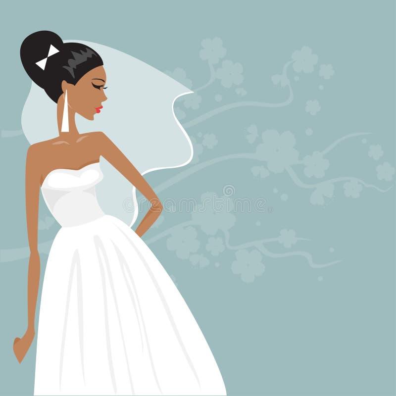Beautiful bride in a wedding dress. Vector illustration royalty free illustration