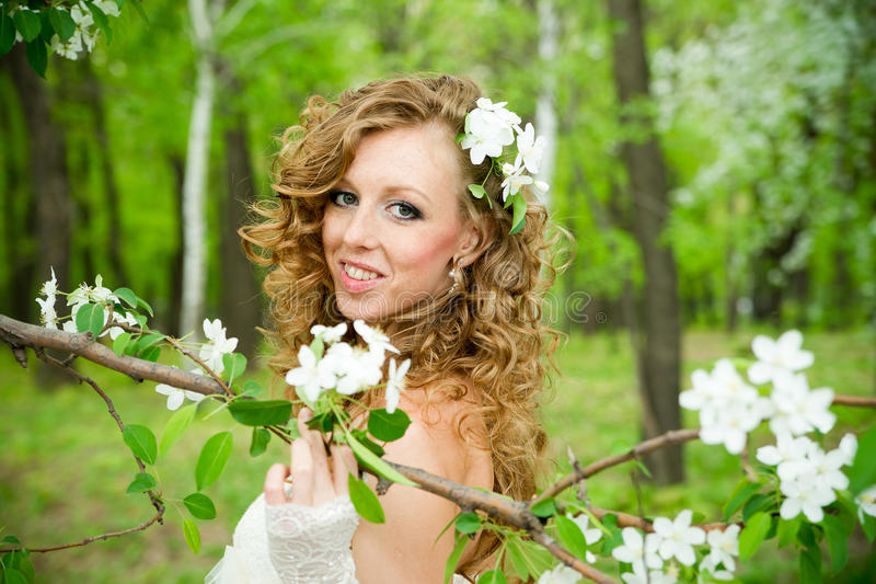 Beautiful bride in a white dress in blooming gardens royalty free stock images