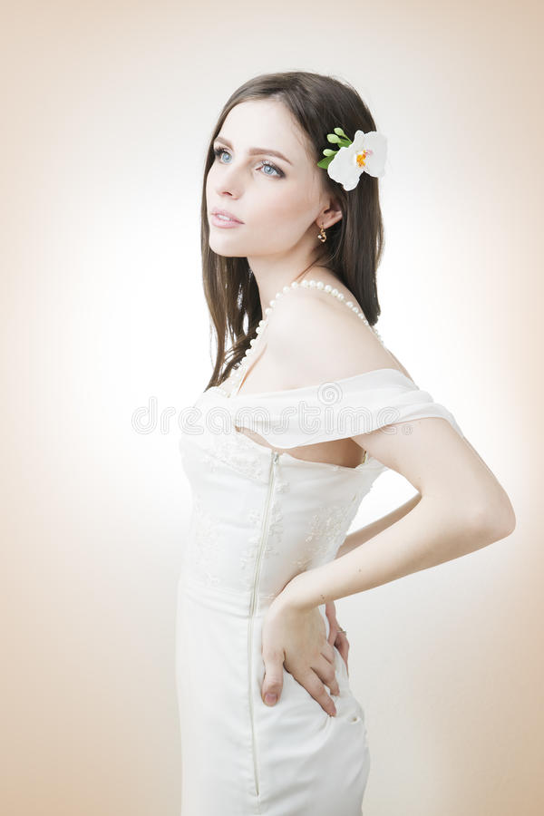 Beautiful bride in a white dress royalty free stock photo