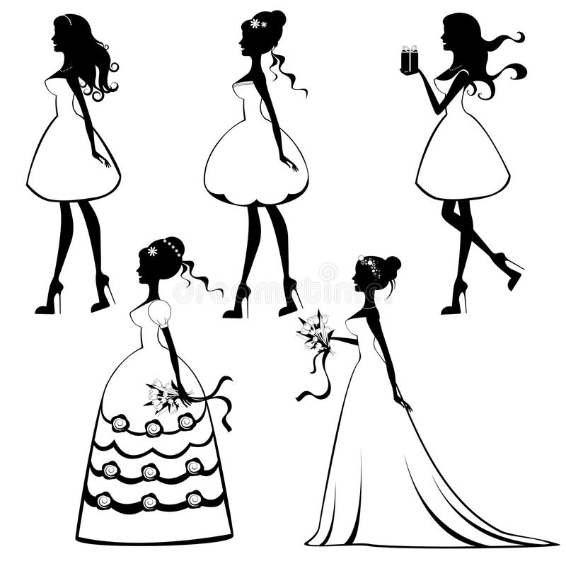 Beautiful brides silhouettes set stock illustration