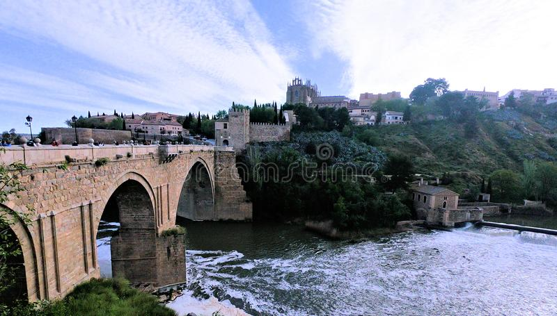 City of Toledo Spain. Beautiful bridge and skyline in Toledo Spain royalty free stock image