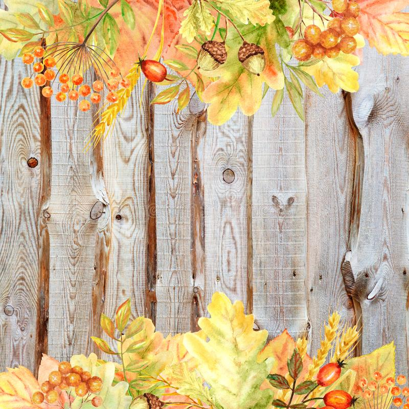 Beautiful bright Autumn social media banner. Autumn colors forest leaves Frame on wooden background. Watercolor autumn vector illustration