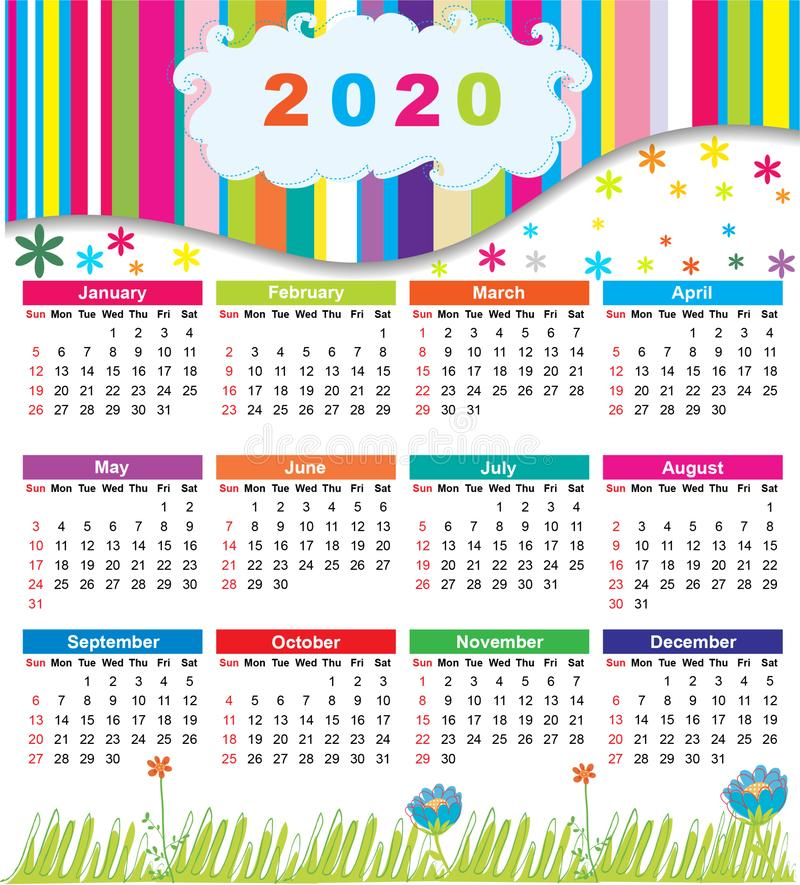 2020 colorful calendar flower and cloud stock image