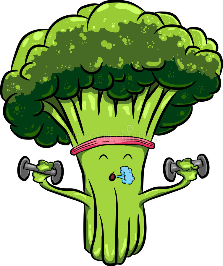 Beautiful bright cartoon broccoli engaged in sports with dumbbells stock image