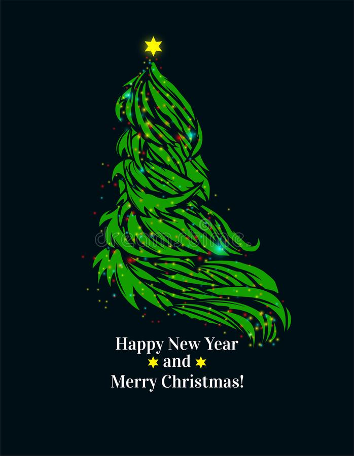 Beautiful bright Christmas tree. Happy New Year and Merry Christmas card. stock photography