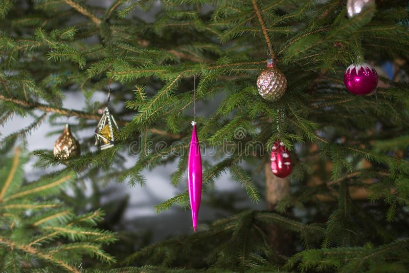 Beautiful, bright, colorful decoration for the house and Christmas trees, old Soviet toys. royalty free stock photos