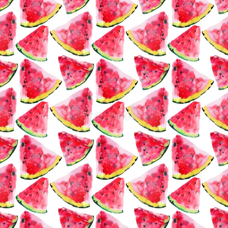Beautiful bright colorful delicious tasty yummy ripe juicy cute lovely red summer autumn fresh dessert slices of watermelon patter. N watercolor hand royalty free stock image