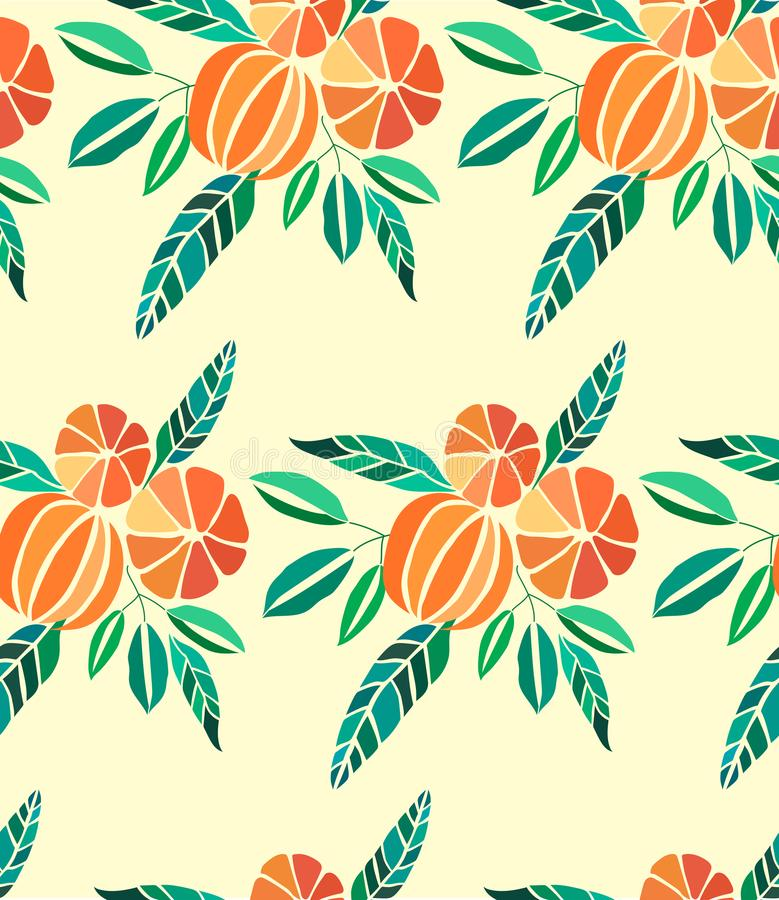 Beautiful bright colorful delicious tasty yummy ripe juicy lovely orange summer autumn dessert slices of oranges and mandarins pat. Tern vector illustration royalty free illustration