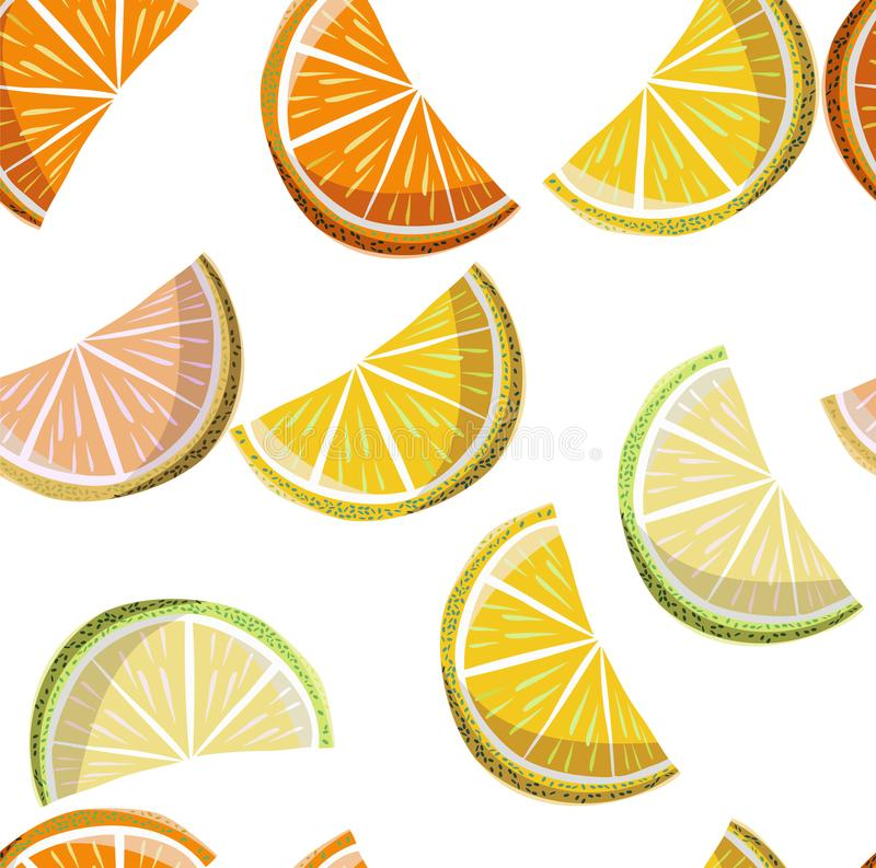 Beautiful bright colorful delicious tasty yummy ripe juicy lovely orange summer autumn dessert slices of oranges and mandarins. Pattern vector illustration vector illustration