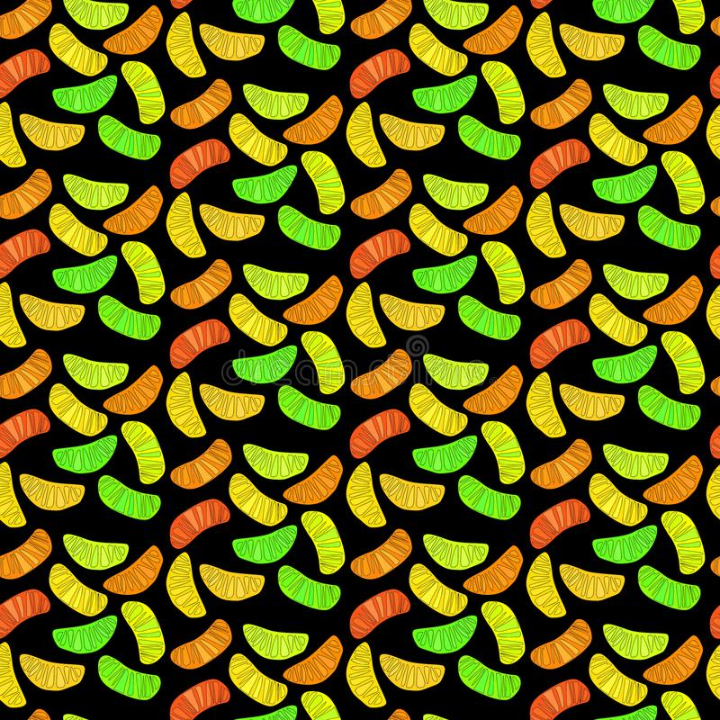 Beautiful bright colorful delicious tasty yummy ripe juicy lovely orange summer autumn dessert slices of oranges and mandarins. Pattern vector illustration royalty free illustration