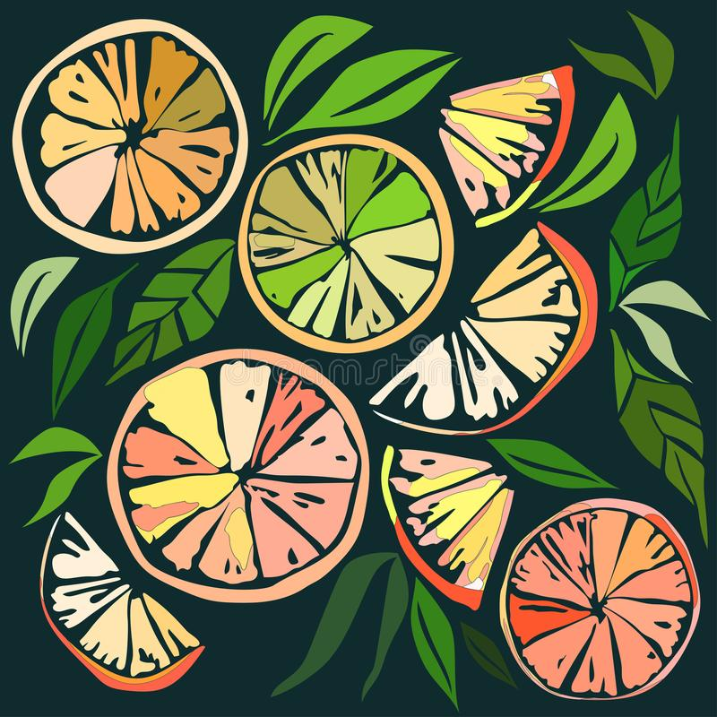 Beautiful bright colorful delicious tasty yummy ripe juicy lovely orange summer autumn dessert slices of oranges and mandarins pat. Tern on black background vector illustration
