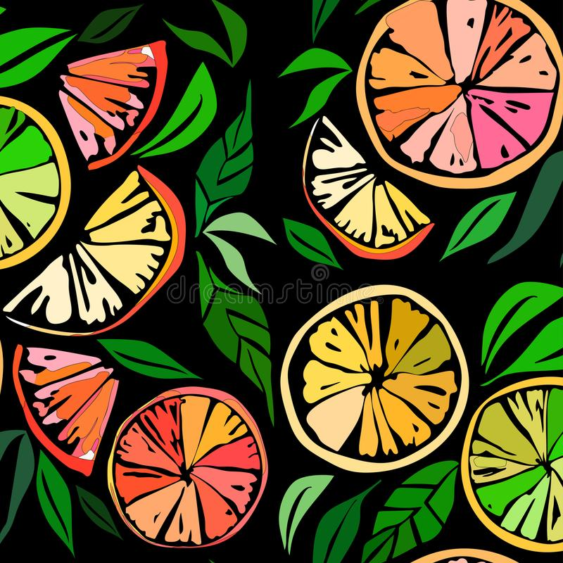 Beautiful bright colorful delicious tasty yummy ripe juicy lovely orange summer slices of oranges and mandarins pat. Beautiful bright colorful delicious tasty stock illustration